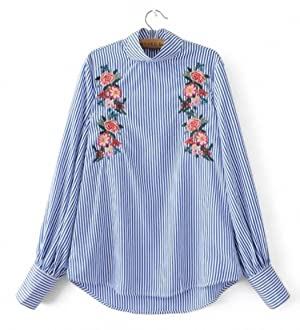 Women elegant floral embroidery striped blouse loose office wear long sleeve turtleneck shirts ladies casual tops blusas LT1376 as picture M