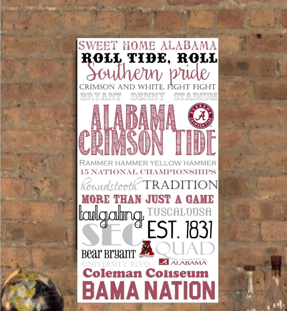 University of Alabama / Roll Tide/ Alabama/ Crimson Tide/ Tuscaloosa, AL Subway Art Canvas Print- can customize