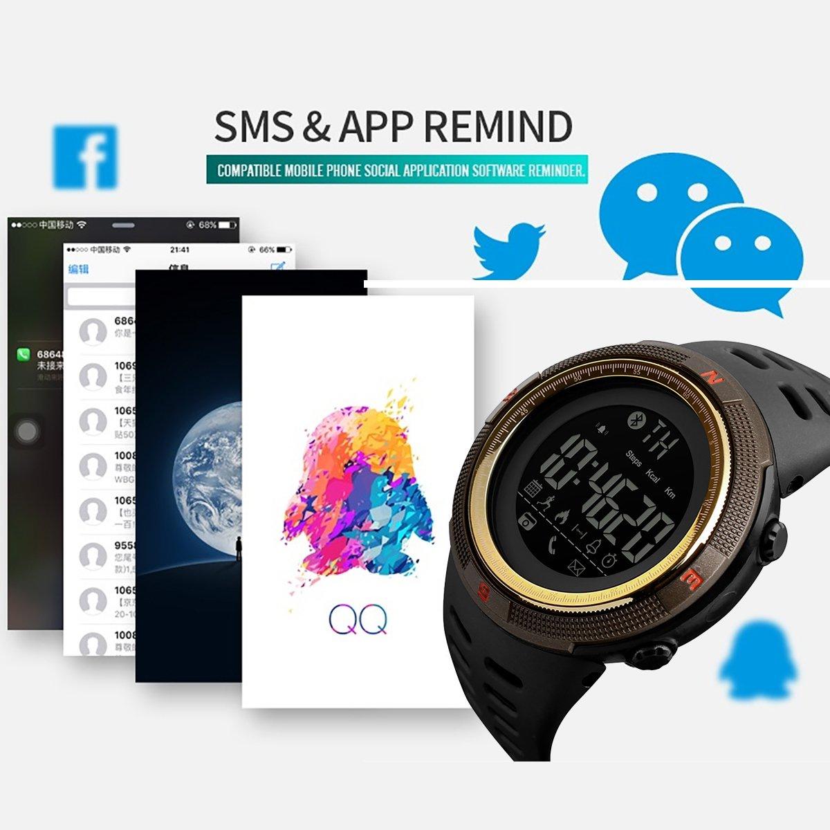 Longqi Watch Skmei - Reloj inteligente digital resistente al agua con función Bluetooth, calendario y actividad deportiva