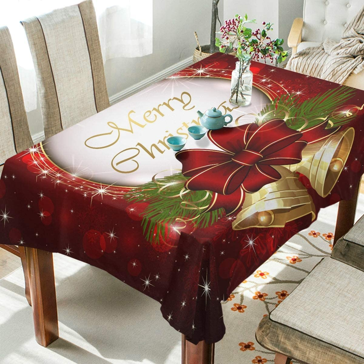 AGONA Square Tablecloth Christmas Bells Bow Snowflakes Tablecloths Round Washable Table Cover Wrinkle Free Anti-Fading Table Cloth for Picnic Kitchen Dinning Tabletop Decor 54x54 inch