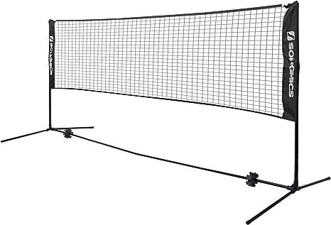 Songmics Badminton Tennis Net Height Adjustable Badminton Poles With Net Amazon Co Uk Garden Outdoors