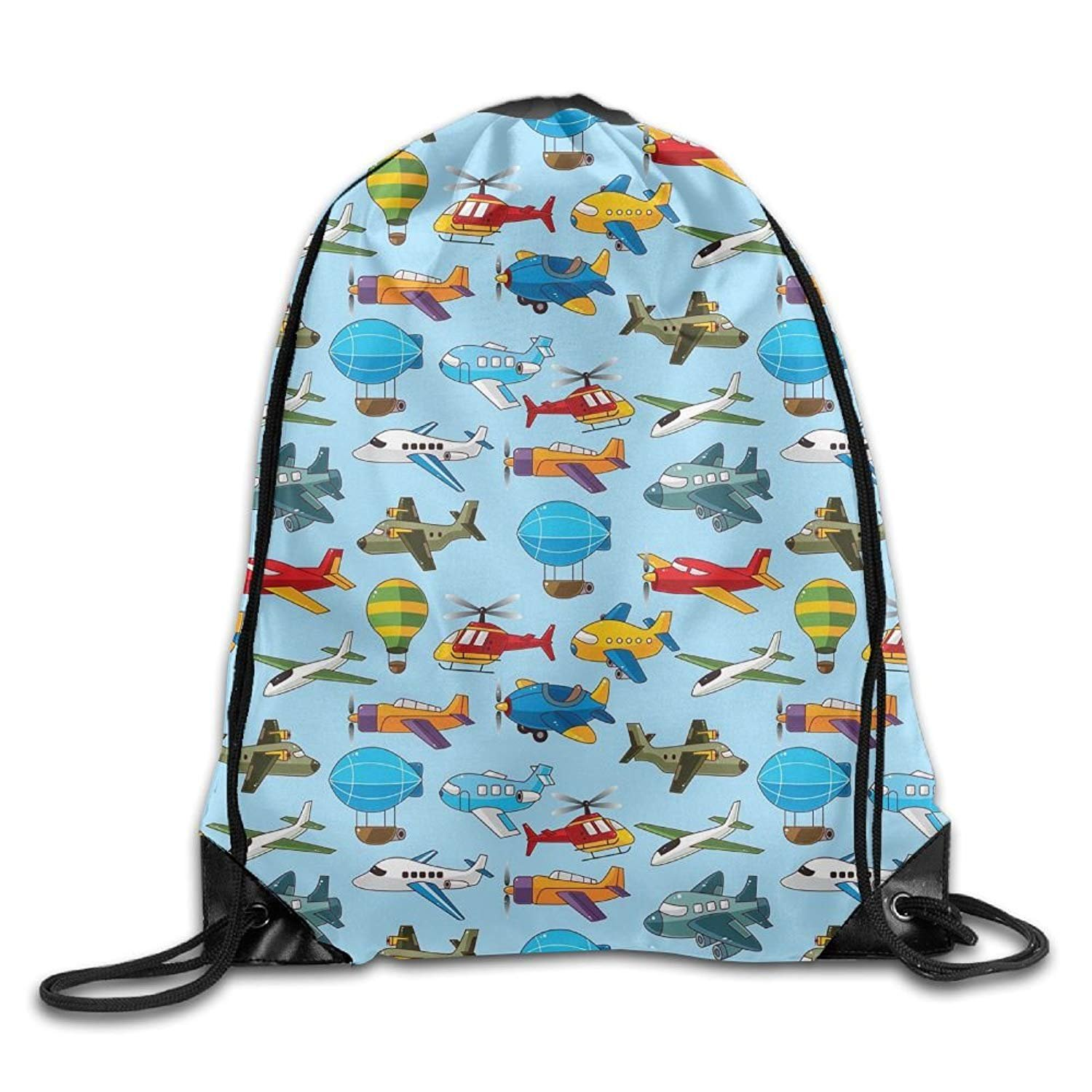 Gym Drawstring Bags Helicopter Airship Plane Draw Rope Shopping Travel Backpack Tote Student Camping