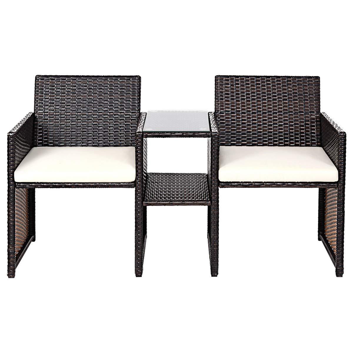 LeZhel Shop Brand New and Patio Rattan Conversation Cushioned Seat Sofa Set Stylish Contemporary Design Durable Lightweight Galvanized Steel Tube Construction
