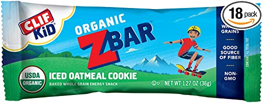 CLIF KID ZBAR - Organic Energy Bar - Iced Oatmeal Cookie - Baked Whole Grain Energy Snack Bar (1.27 Ounce Snack Bar, 18 Count)