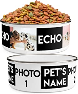 Personalized Dog Bowls (Medium - 30oz) for Food or Water - Design with Your Pet's Photos and Name - Custom Stainless Steel Enamel Dog Bowl with Lid