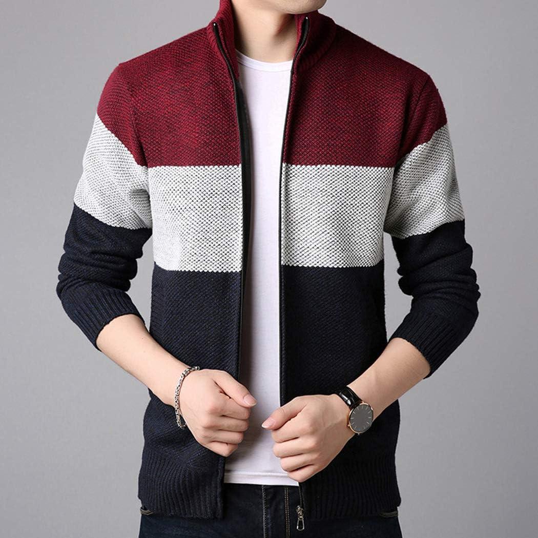 moonWANG Mens Casual Long Sleeve Zip-up Stand Collar Cardigans Knitted Jacket Mens Fleece Sweatshirt Sweater Overcoat