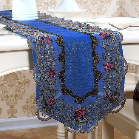 JINGJIE Caminos de mesa Corredores de mesa estilo europeo bordado encaje mesa gabinete de la tv