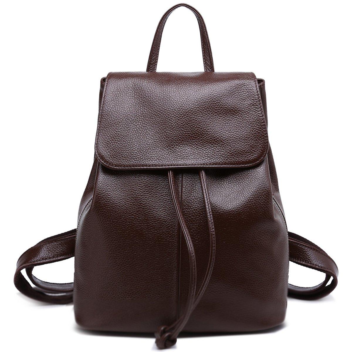 Genuine Leather Backpack for Women Elegant Ladies Travel School Shoulder Bag (Coffee Brown)