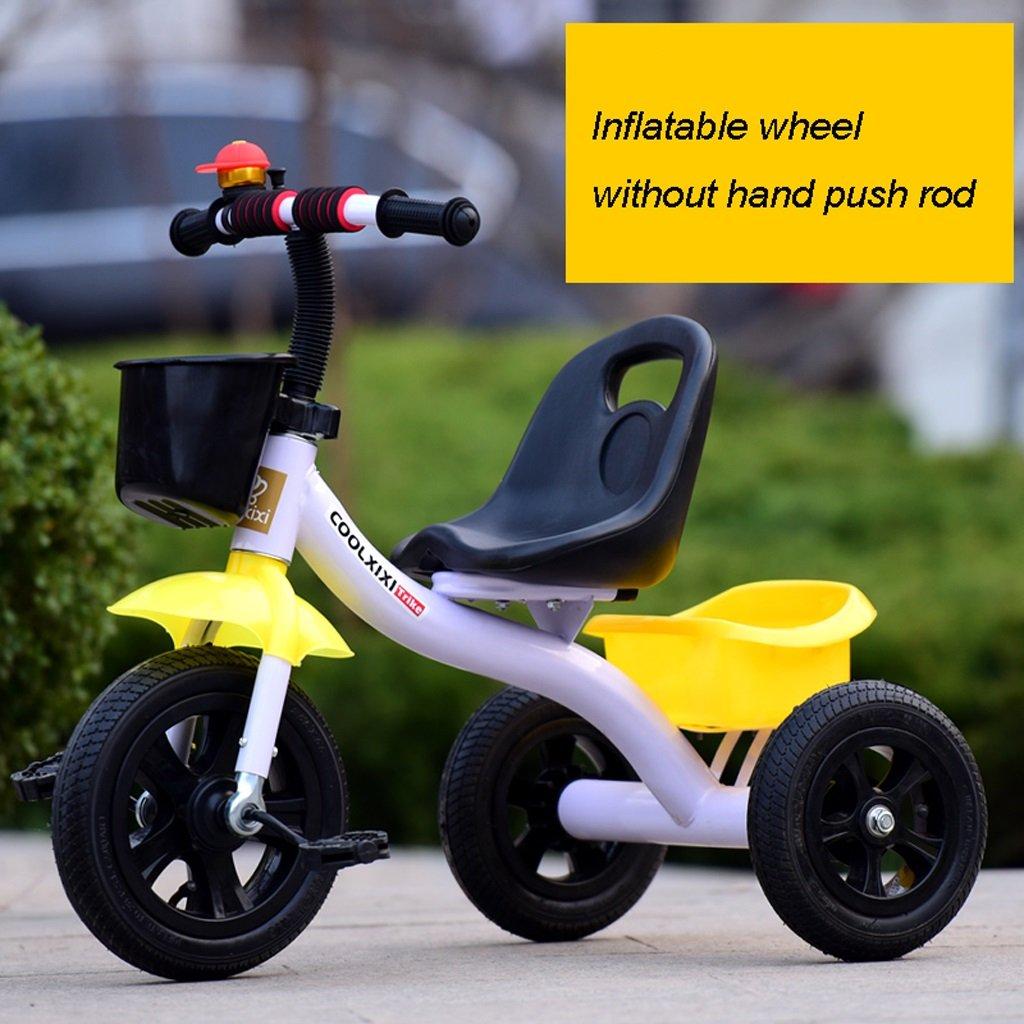 Kinder Fahrrad Klapprad 2-6 Jahre alt, Kinderwagen, gelb und weiß, mit Hand Push Rod