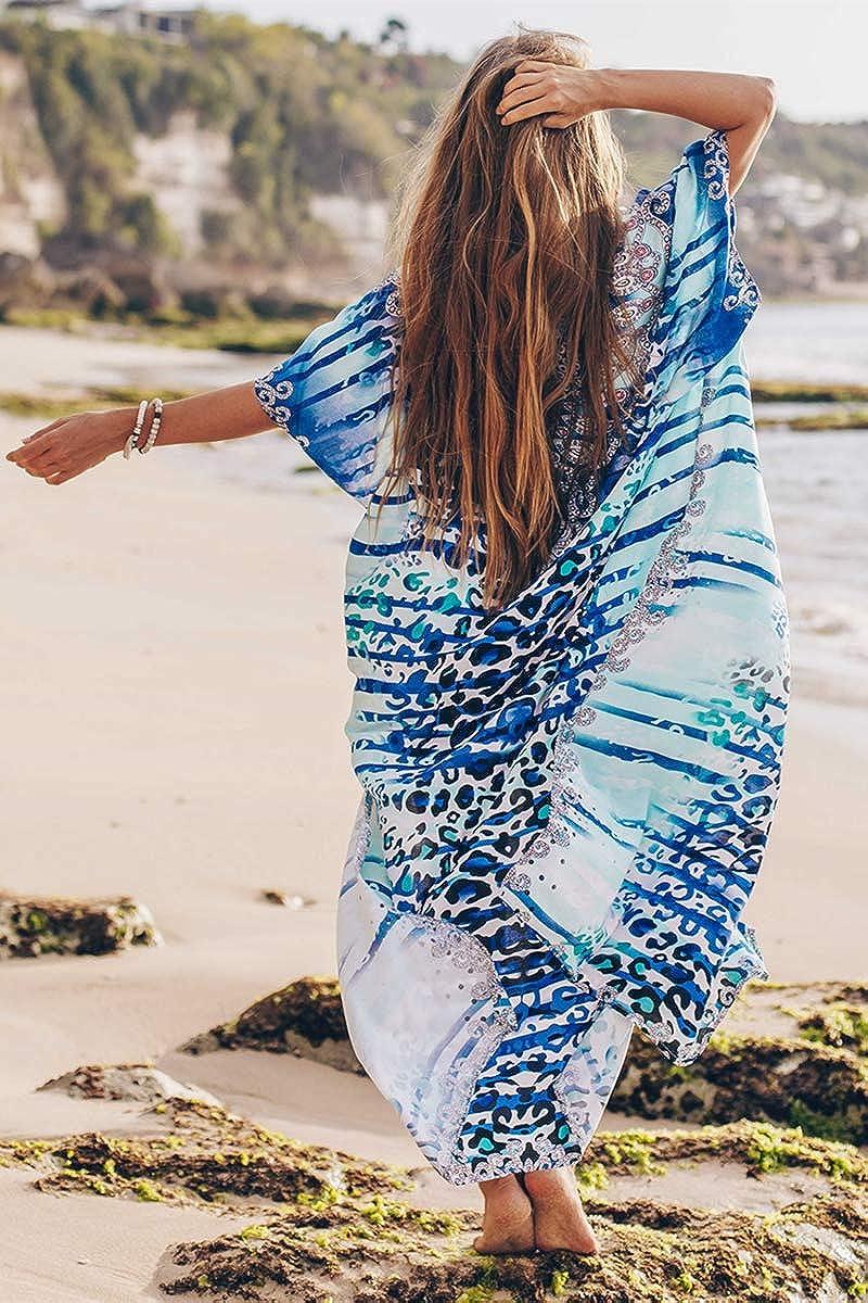 YouKD Kaftano Lungo Floreale in Cotone Estivo Kimono Boemo Costume da Bagno da Spiaggia Cover Up Abito Lungo per Donne