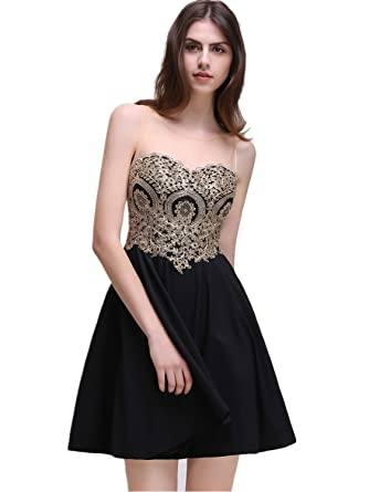 Girls Lace Short Prom Dresses A-line Homecoming Gown,Black,Size 2