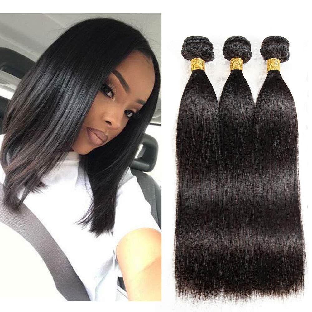 Monitu Brazilian Straight Hair Bundles 10 12 14 Inch Virgin Human Hair Weave Extensions Natural Black