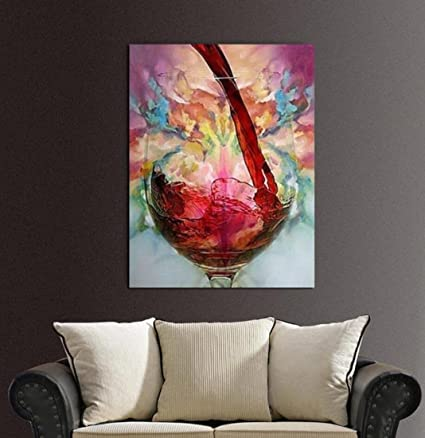 Amazon.com: GL&G Art-The Color Red Wine Glass Wall Art Oil Paintings ...