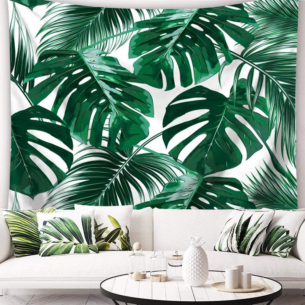 QCWN Tropical Jungle Tapestry Banana Palm Tree Leaf Plants Watercolor Green Plant Leaves Print Wall Hanging for Bedroom Living Room Dorm Home Decor Art.78x58Inch