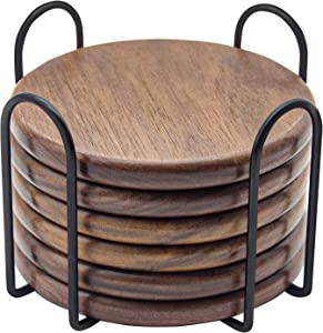 Eykao Wood Coasters for Drinks - Set of 6 with Holder, Walnut-4 Inch to Prevent Furniture from Being Polluted or Damage, Durable and Long-Lasting, Unique Present for Friends, Parents, Housewarming
