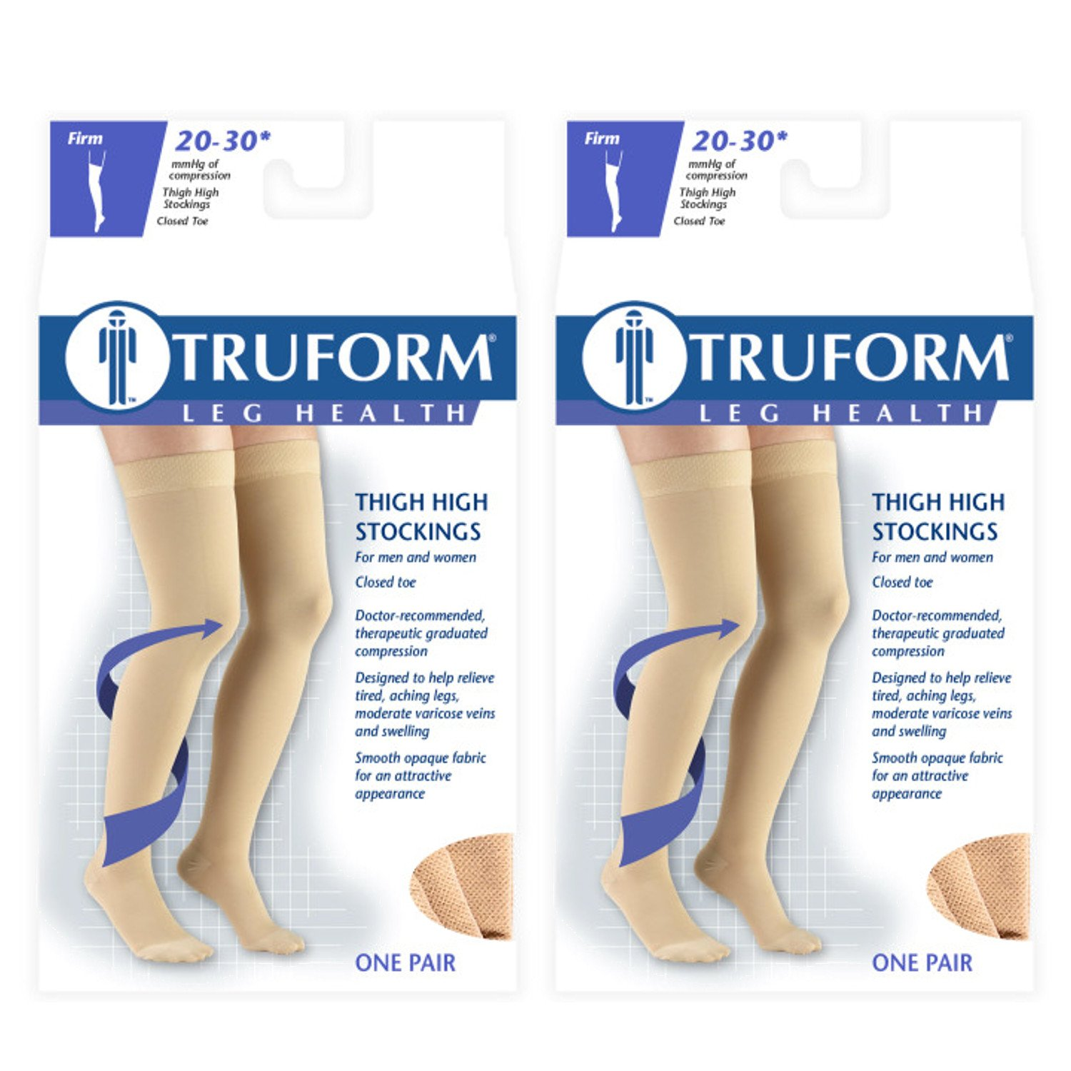 Truform Compression 20-30 mmHg Thigh High Dot Top Stockings Beige, Small, 2 Count