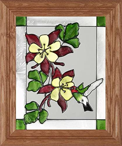 Anna s Hummingbird Vertical Art Glass Panel with Wooden Frame 12 x 10
