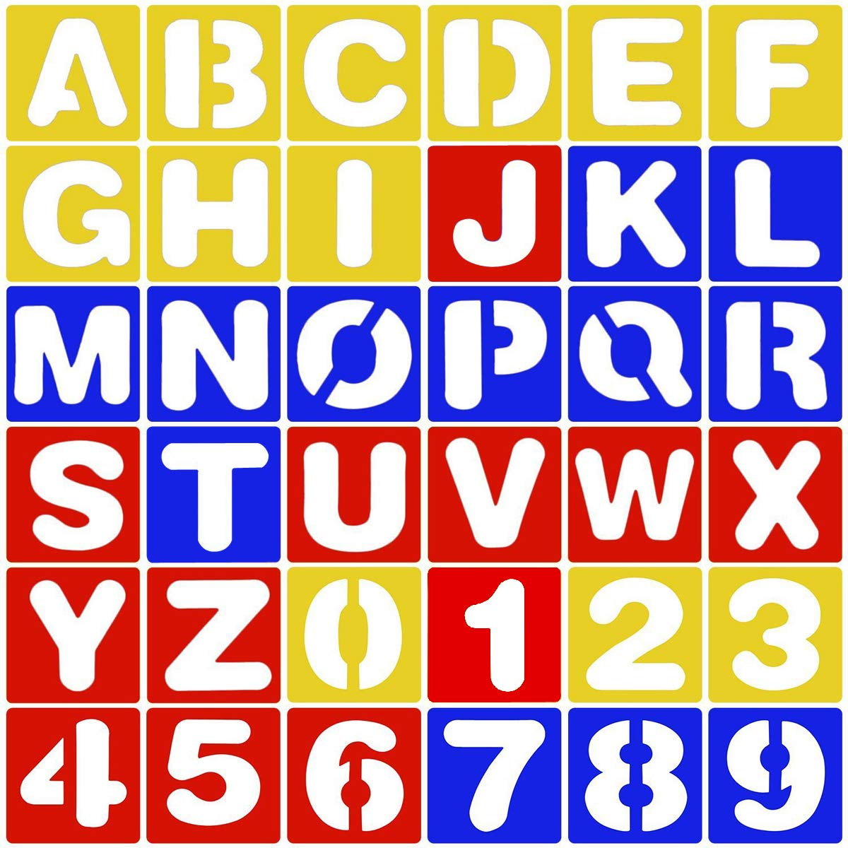 CKANDAY 36 Pieces Alphabet and Number Stencils Set, 3 Colors Plastic Letter Stencils for Painting Learning DIY Craft Decoration Journaling Scrapbooking Card and Art Projects, 4 inches