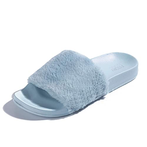 86e54ea0fb26d FITORY Women Slides Slippers,Faux Fur Slide Slip On Flats Sandals with Arch  Support Open Toe Soft Girls Indoor Outdoor Shoes