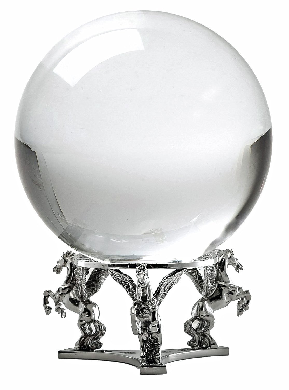 Amlong Crystal Clear Crystal Ball 130mm (5 in.) Including Silver Pegasus Stand