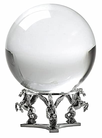 Amlong Crystal Clear Crystal Ball 130mm (5 in ) Including Silver Pegasus  Stand