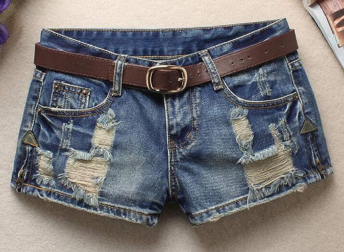 MOUTEN Womens Low Waist Zipper Summer Ripped Distressed Short Cheeky Denim Thong Shorts