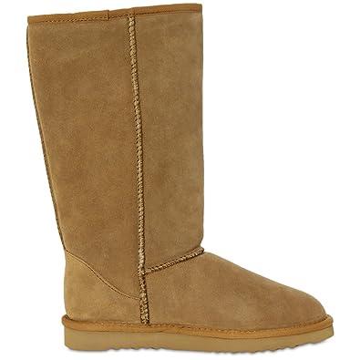 714bbf18ce79 CASPAR Fashion FARASION Damen warme Winter Wildleder Boots Stiefel mit  hohem Schaft - Echt Leder - SBO013  Amazon.de  Schuhe   Handtaschen