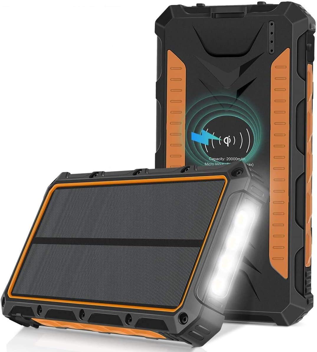 Sendowtek Powerbank op zonne-energie, met 3 zonnepanelen, 2 USB-uitgangen, externe draagbare oplader op zonne-energie voor camping, reizen, noodgevallen, IP54 waterdicht/zaklamp, 20000mAh
