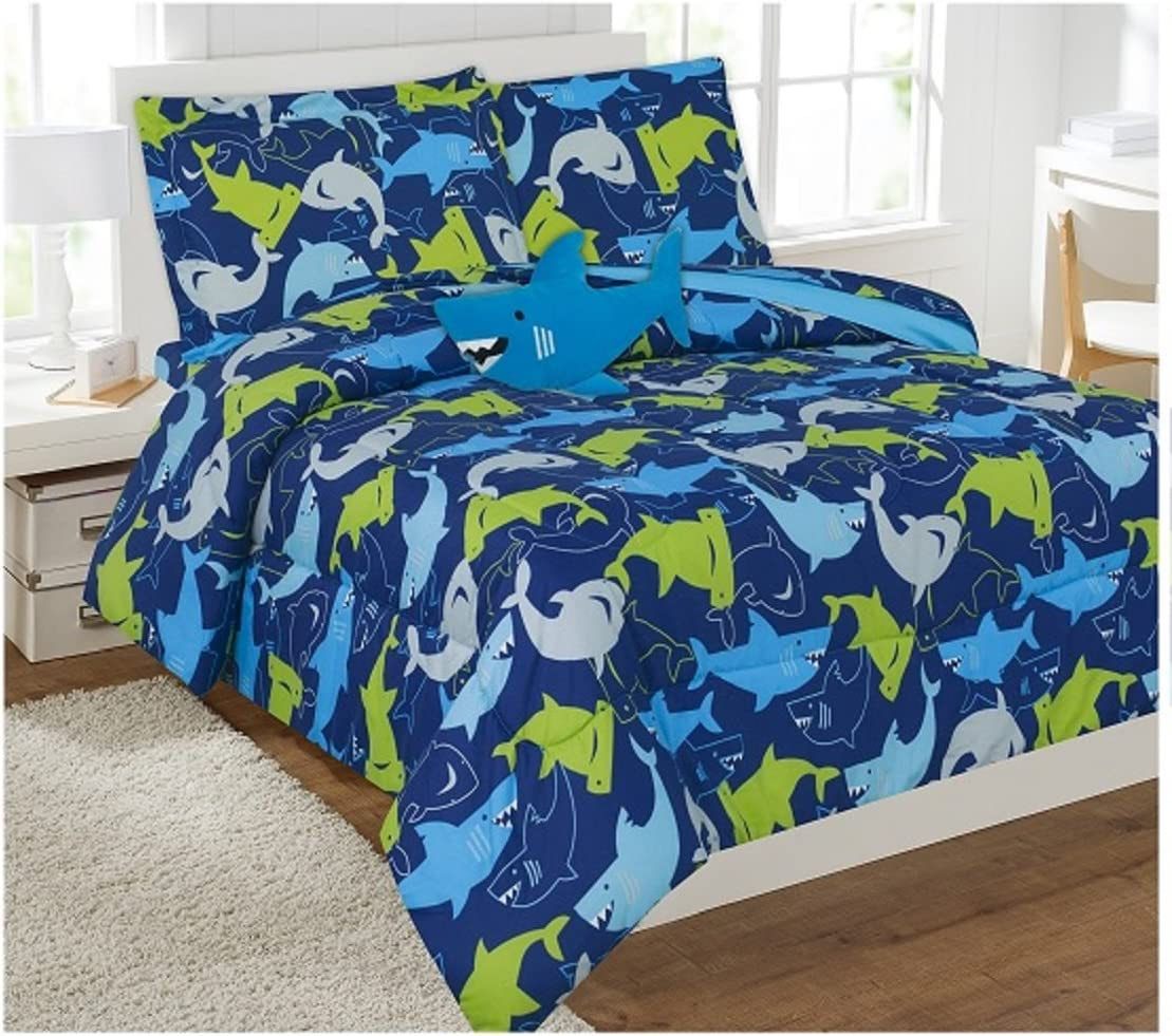 6 Piece Comforter Set Kids Bed in a Bag- Twin (Blue Shark)