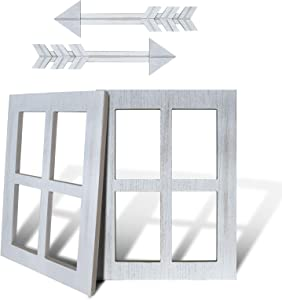4 Pieces Rustic Wall Decor Wood Window Frames & Arrow Decor White Wood Window Pane Country Farmhouse Decorations Home Wall Hanging Decor
