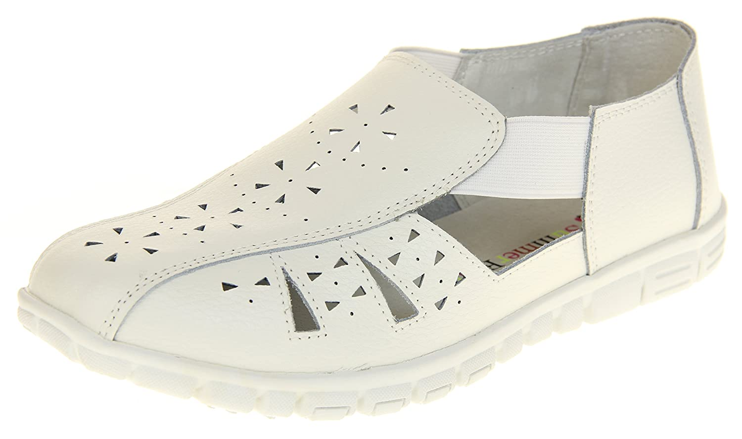 Coolers Womens Leather Wide Fit EEE Sandals Shoes B07D6RR5LZ 6 B(M) US|White