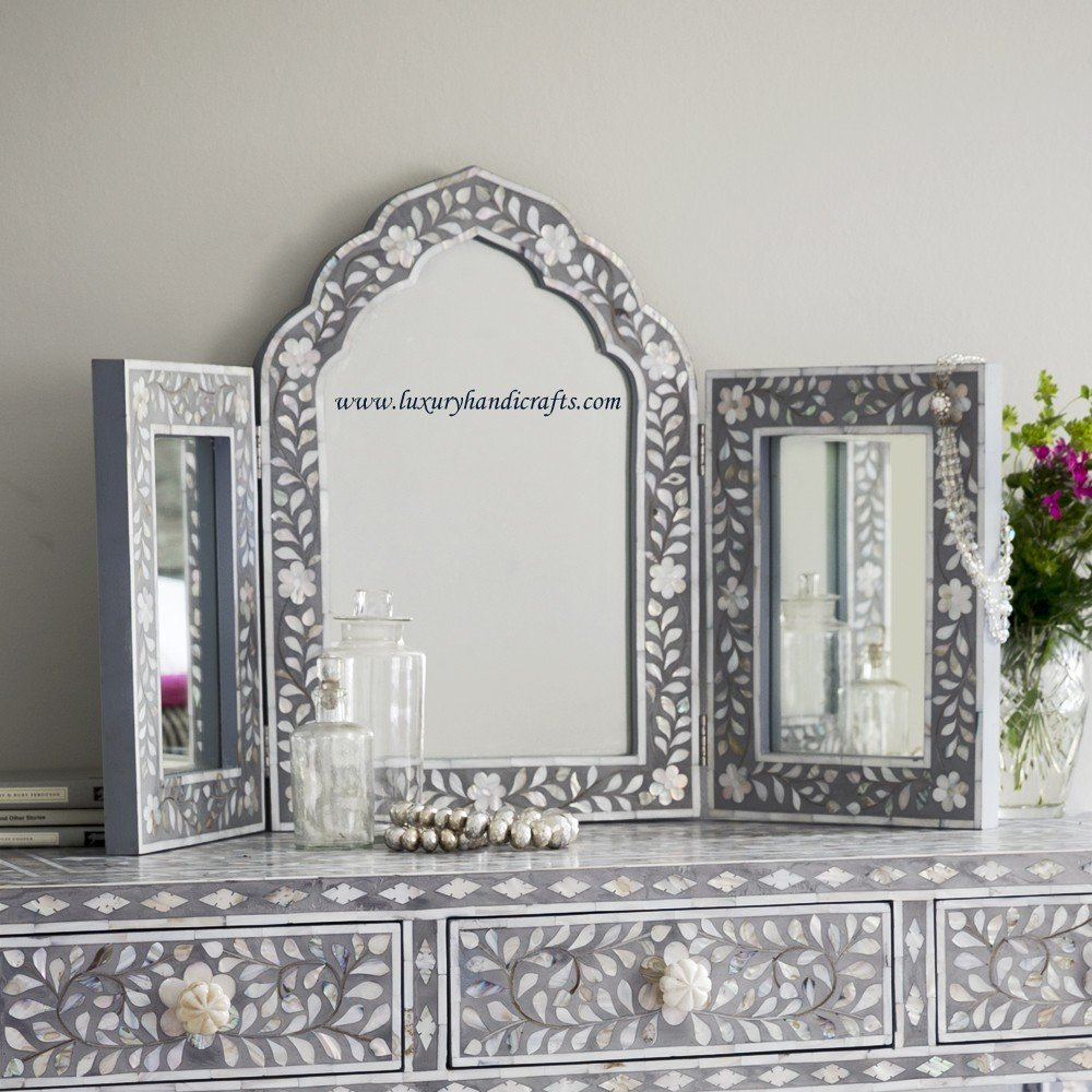 Isabelle Mother of Pearl Triple Mirror in Grey by Luxury Handicrafts (Image #1)