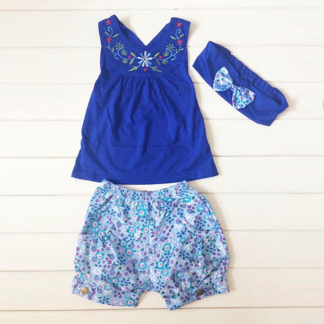 SMARTLADY Verano Bebe NiñA Camiseta Floral Del Chaleco + Pantalones Cortos + Diadema: Amazon.es: Ropa y accesorios