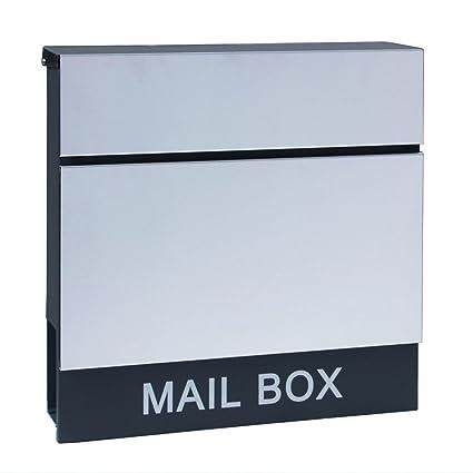 LZQ Estilo moderno Buzón de Acero Inoxidable Buzón de Exterior ara cartas y correo postal con el periódico rollo Bloqueable 2 Llaves, Antracita, ...