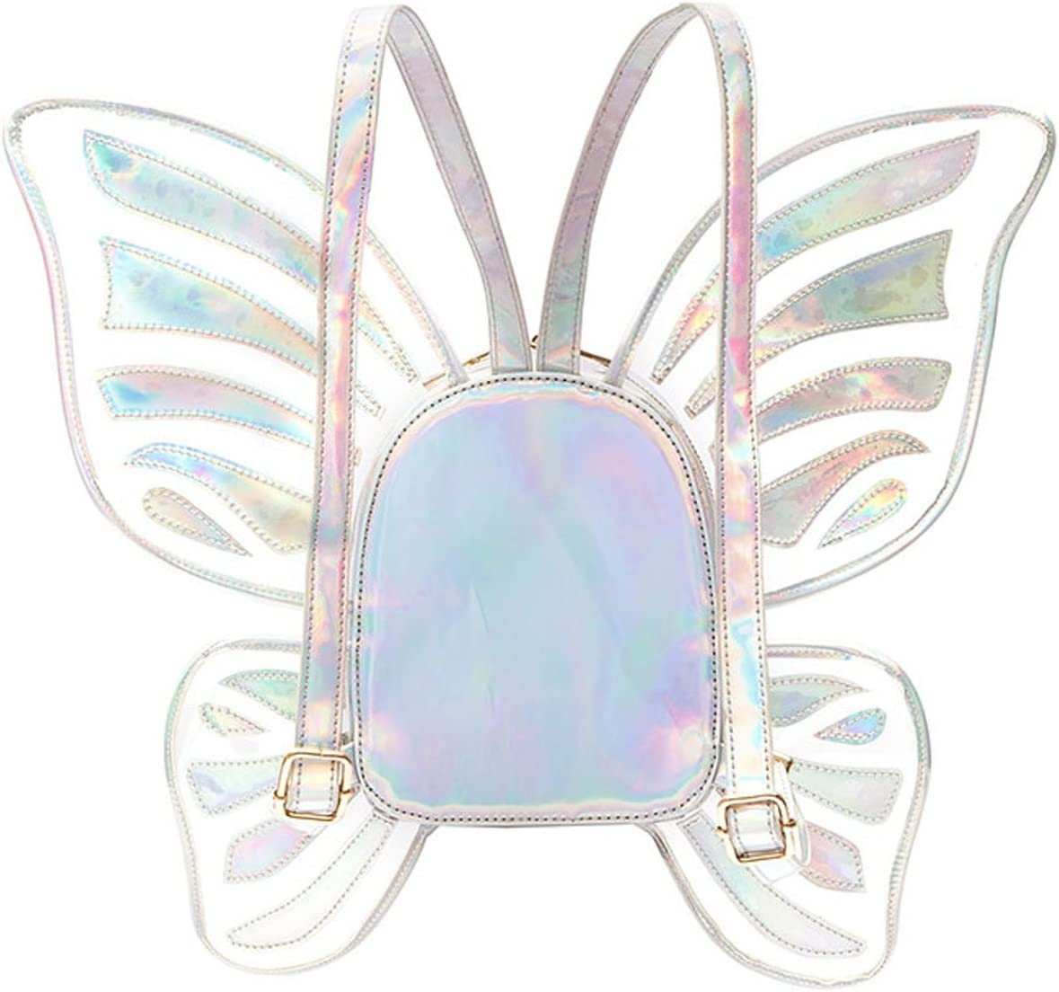 Women s Laser Holographic Backpack Butterfly Angel Wings Daypack Travel Casual Satchel For Girls No Logo