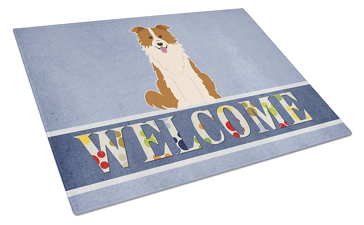 Multicolor Carolines Treasures Border Collie Red White Welcome Glass Cutting Board Large
