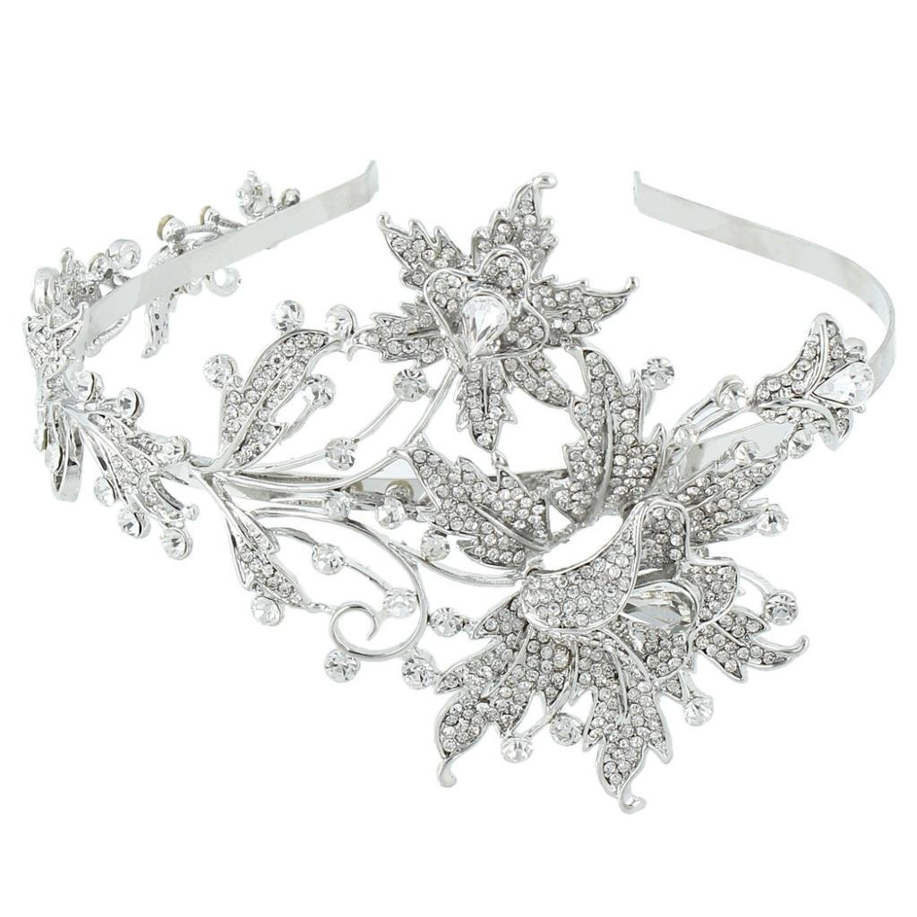 Ever Faith Wedding Leaf 2 Flower Headband Clear Austrian Crystal Silver-Tone N02730-1