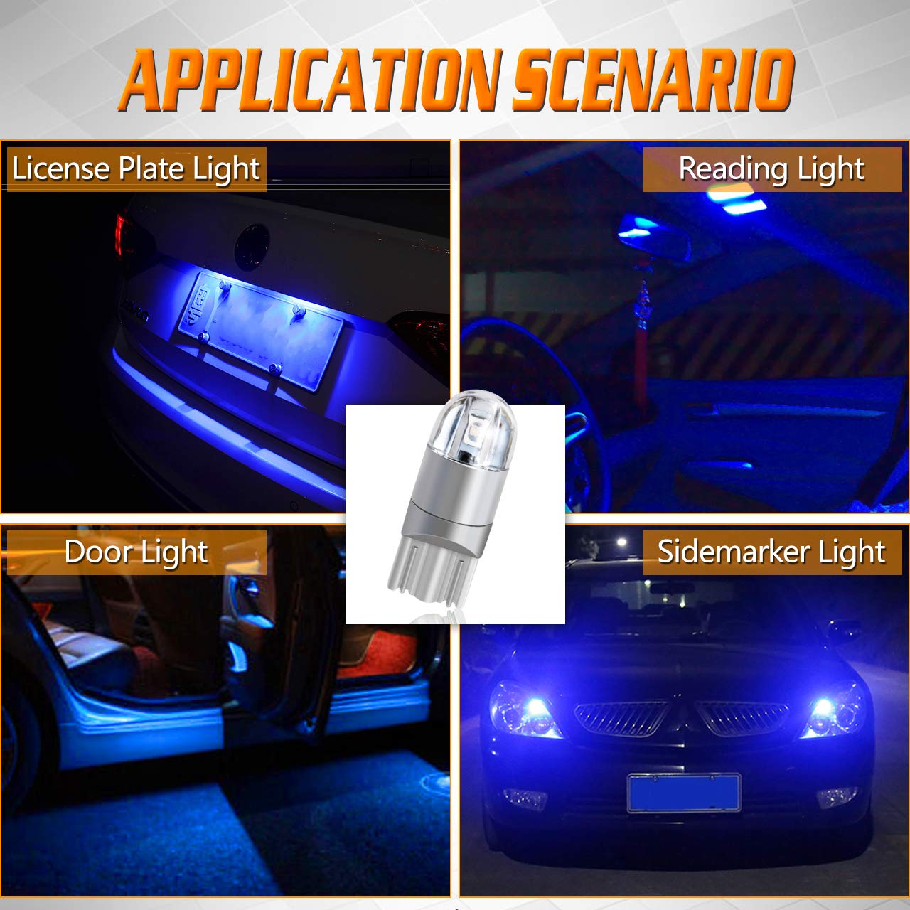 12V-24V 4pcs TUINCYN T10 194 168 LED Bulb Ice Blue Super Bright 2825 W5W 175 158 Socket 2SMD 3030 Chipsets Car Interior Light Map Dome Lamp Courtesy Trunk License Plate Dashboard Parking Light