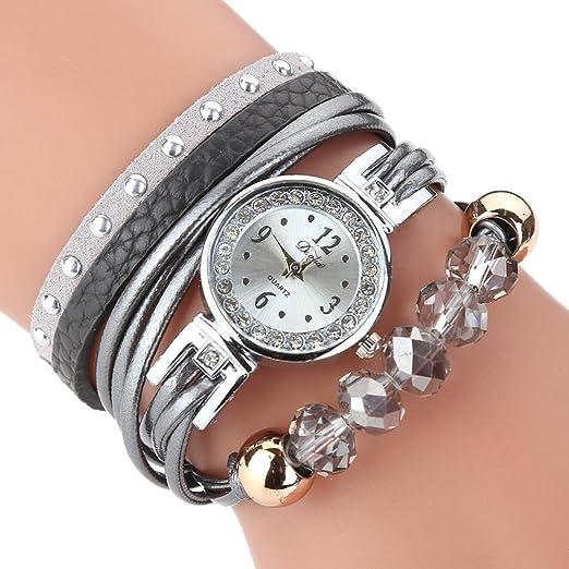 Relojes de Mujer Gris 2018 Cuarzo con Pulsera de Lujo Reloj de Piedras Preciosas Popular por ESAILQ: Amazon.es: Relojes