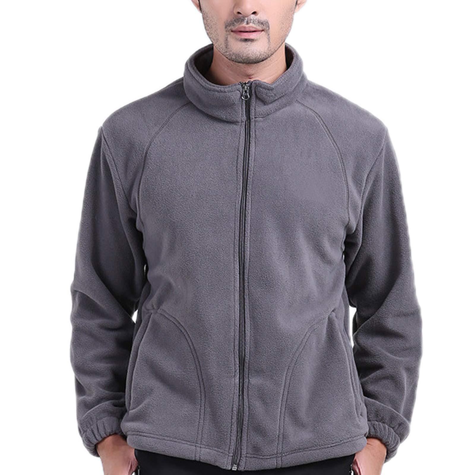 ZumZup Mens Fleece Jacket Full Zip Stand Collar Sportwear Top Outwear Grey Bust 41.7''(Asie S) by ZumZup