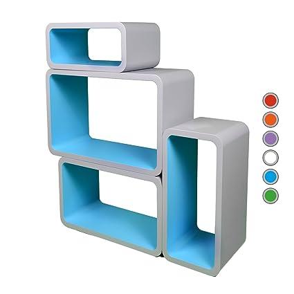 retro floating shelves bookcase cube shelving lo01p grey blue rh amazon co uk