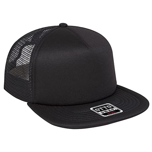 66436c456 OTTO Foam Front Flat Visor SNAP 5 Panel Mesh Back Trucker Snapback Hat -  Black