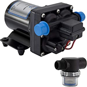 RecPro RV Water Pump | 12V Electric 4 Chamber Water Pump with Pressure and Bypass Switch | 45 PSI Max Draw 8.0AMP GPM/LPM 3.0/11.6 | Self Priming (with Strainer, No Silencer)