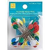 EZ Quilting 881428A 75-Piece Flower Head Pins, Multi-Color