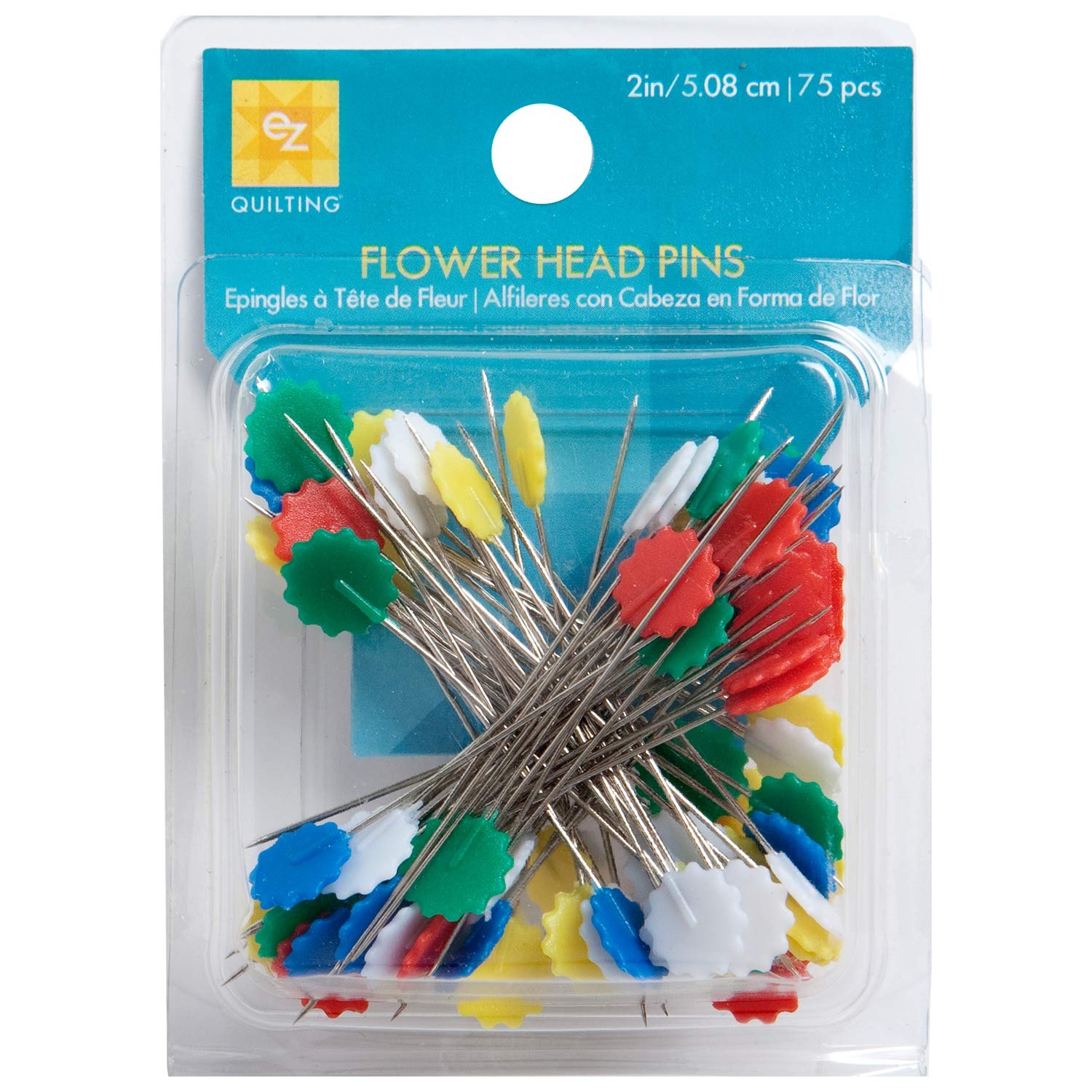 Wrights 881428 Flower Head Multicolor Pins Вundlе оf Fіvе 75-Pack