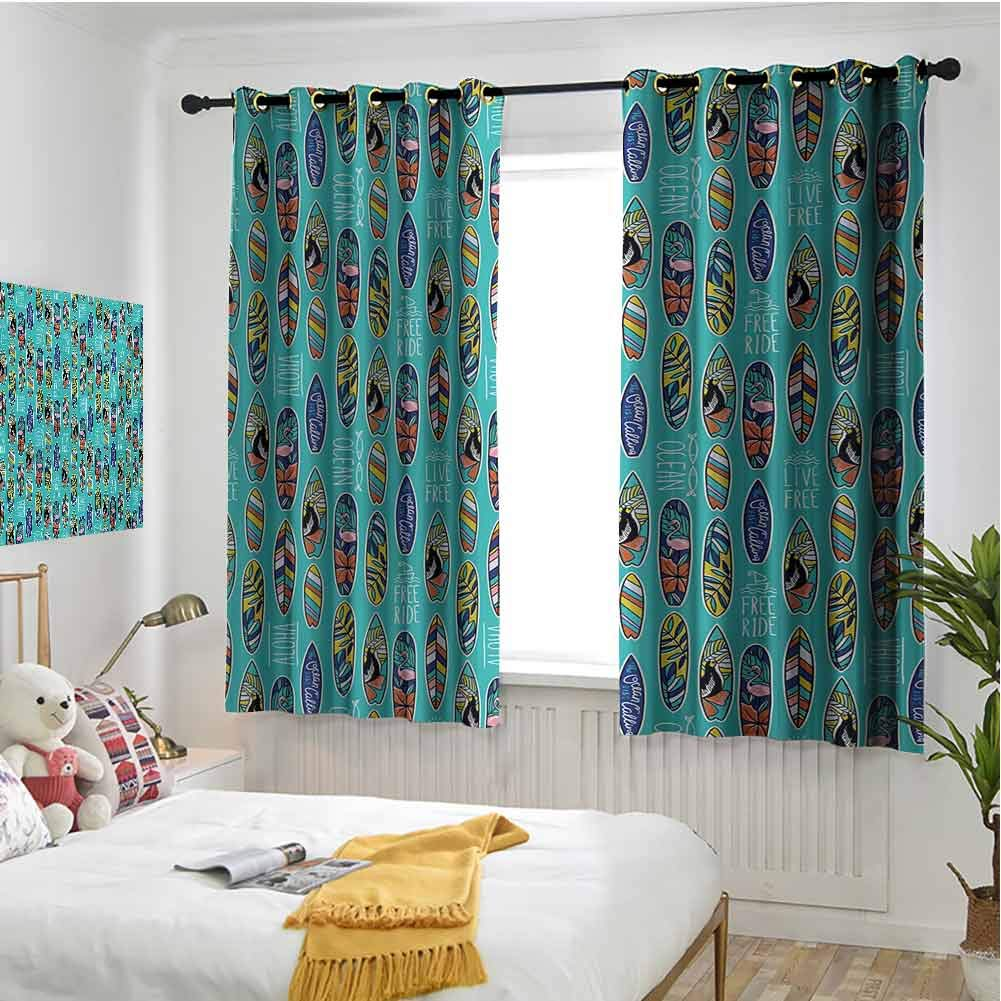 hengshu Surfboard Shading Insulated Curtain Aloha Hawaii Live Free Ocean Water Sports Inspired Pattern Coastal Inspirations for Living Room or Bedroom W84 x L96 Inch Multicolor by hengshu