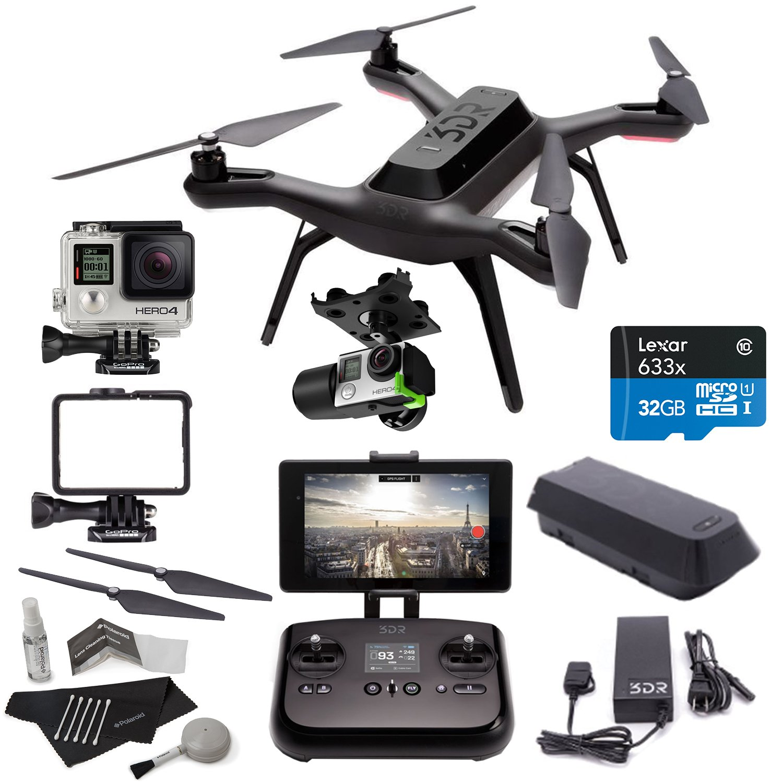 Amazon 3DR Solo Drone Quadcopter 3D Robotics Gimbal GoPro HERO4 Silver Camera Propeller Set Lexar High Performance MicroSDHC