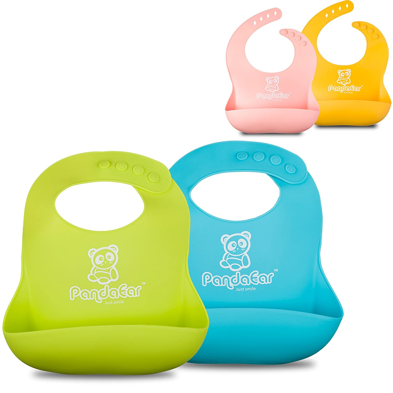 PandaEar Set of 2 Cute Silicone Bibs for Babies & Toddlers (10-72 Months) Waterproof, Soft, Unisex - Pink/Yellow