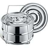 Secite Stackable Steamer Insert Pans for Instant Pot Accessories 6/8 Qt Stainless Steel Food Pressure Cooker,Baking, Reheating