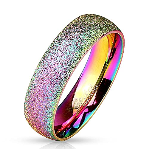 Bungsa Regenbogen Ring Sandgestrahlt Diamantoptik Edelstahl Frauen